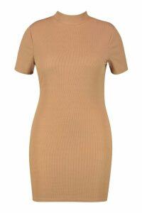 Womens Plus Soft Rib Cap Sleeve Midi Dress - beige - 20, Beige