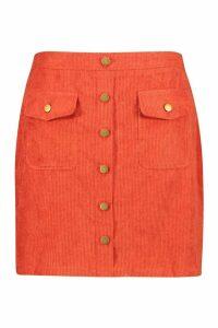 Womens Plus Chunky Cord Pocket Front Mini Skirt - orange - 20, Orange