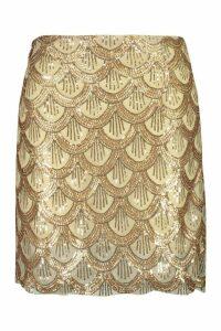 Womens Plus Sequin Scallop Aline Skirt - metallics - 20, Metallics