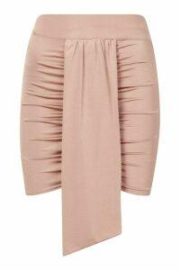 Womens Petite Slinky Ruched Mini Skirt - beige - 14, Beige