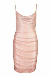 Womens Petite Mesh Ruched Detail Mini Dress - purple - 14, Purple