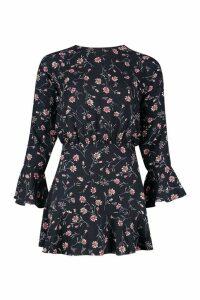 Womens Petite Floral Flared Sleeve Skater Dress - black - 14, Black