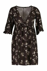 Womens Petite Floral Printed Smock Dress - black - 12, Black