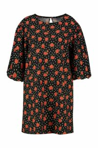 Womens Plus Rose Polka Dot Puff Sleeve Shift Dress - black - 20, Black