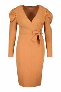 Womens Plus Draped Sleeve Wrap Detail Midi Dress - brown - 24, Brown