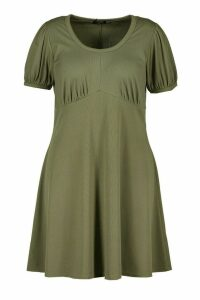 Womens Plus Ribbed Scoop Neck Puff Sleeve Swing Dress - green - 22, Green