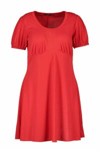 Womens Plus Ribbed Scoop Neck Puff Sleeve Swing Dress - red - 18, Red