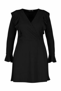 Womens Plus Ruffle Wrap Front Skater Dress - black - 20, Black