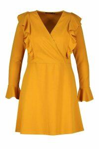 Womens Plus Ruffle Wrap Front Skater Dress - yellow - 22, Yellow