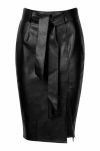Womens Petite Split Tie PU Midi Skirt - black - 14, Black