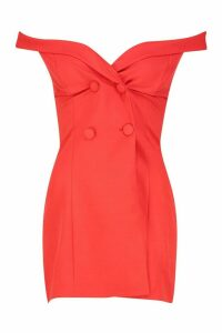 Womens Petite Off The Shoulder Blazer Dress - red - 14, Red