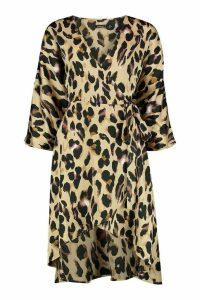 Womens Petite Leopard Print Kimono Sleeve Wrap Dress - brown - 10, Brown
