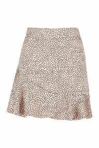 Womens Petite Ruffle Hem Satin Spot Mini Skirt - beige - 14, Beige