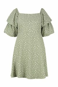 Womens Plus Spotty Ruched Puff Sleeve Skater Dress - green - 20, Green