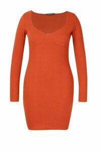 Womens Plus Ribbed Cupped Long Sleeve Bodycon Dress - orange - 20, Orange