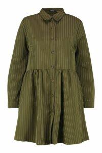 Womens Plus Stripe Button Detail Shirt Dress - green - 20, Green