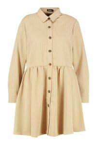 Womens Plus Stripe Button Detail Shirt Dress - beige - 20, Beige