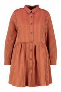 Womens Plus Stripe Button Detail Shirt Dress - orange - 20, Orange