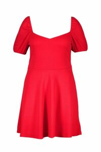 Womens Plus Ruched Puff Sleeve Skater Dress - red - 20, Red