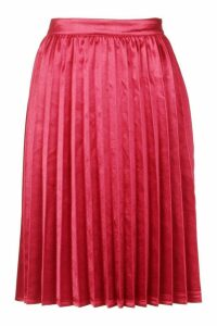 Womens Petite Satin Pleated Midi Skirt - red - 14, Red