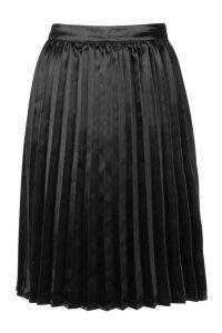 Womens Petite Satin Pleated Midi Skirt - black - 14, Black