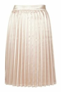 Womens Petite Satin Pleated Midi Skirt - pink - 14, Pink