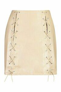 Womens Petite PU Lace Up Mini Skirt - beige - 14, Beige
