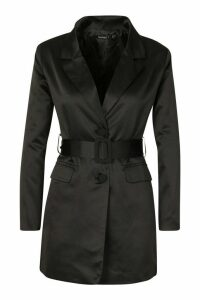 Womens Petite Satin Belted Blazer Dress - black - 14, Black