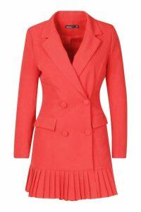 Womens Petite Pleated Blazer Dress - red - 14, Red