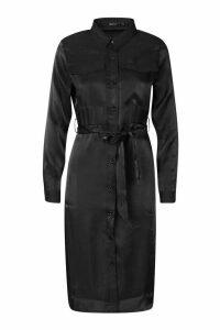 Womens Petite Pocket Metallic Midi Shirt Dress - black - 12, Black