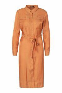 Womens Petite Pocket Metallic Midi Shirt Dress - orange - 14, Orange