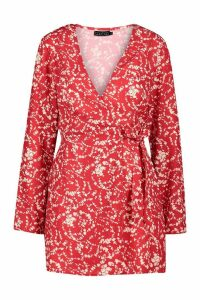 Womens Petite Long Sleeve Woven Floral Print Wrap Dress - red - 14, Red