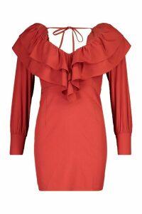 Womens Petite Deep Plunge Frill Mini Dress - red - 14, Red