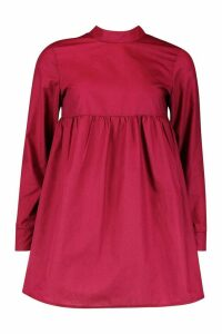 Womens Petite High Neck Long Sleeve Smock Dress - red - 14, Red
