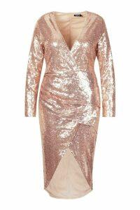 Womens Plus Sequin Ruched Wrap Midi Dress - metallics - 20, Metallics