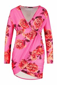 Womens Plus Floral Print Wrap Ruched Mini Dress - Pink - 20, Pink