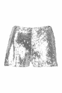 Womens Petite Sequin Tailored Shorts - grey - 14, Grey