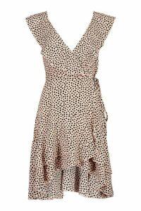 Womens Petite Ruffle Wrap Smudge Print Midi Dress - pink - 14, Pink