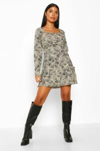 Womens Petite Woven Animal Print Square Neck Shift Dress - beige - 14, Beige