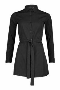 Womens Petite Woven Button Through Shirt Dress - black - 4, Black