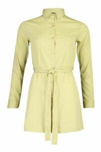 Womens Petite Woven Button Through Shirt Dress - green - 4, Green