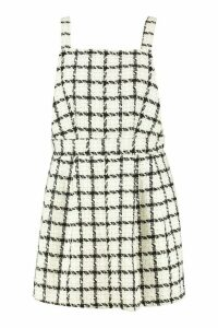 Womens Plus Check Pinafore Dress - white - 20, White
