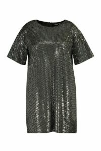 Womens Plus Sequin Mini Shift Dress - grey - 18, Grey
