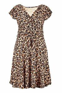 Womens Plus Curve Leopard Off-Shoulder Wrap Midi Skater Dress - brown - 28, Brown