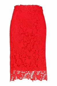 Womens Plus Crochet Lace Midi Skirt - red - 18, Red