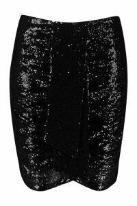 Womens Plus Ruched Sequin Mini Skirt - black - 20, Black