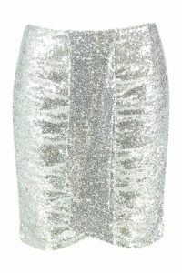 Womens Plus Ruched Sequin Mini Skirt - grey - 20, Grey