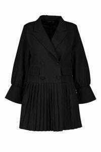 Womens Plus Pleated Hem Blazer Dress - black - 20, Black