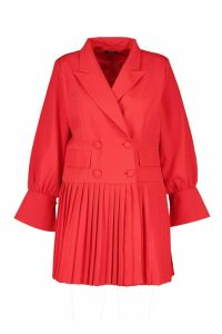 Womens Plus Pleated Hem Blazer Dress - red - 24, Red