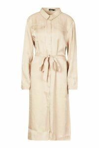 Womens Plus Metallic Shirt Midi Dress - beige - 20, Beige